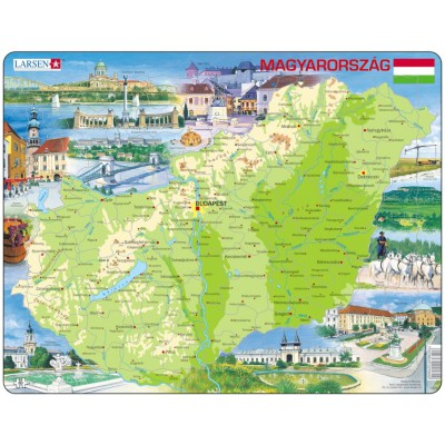 Larsen-K60-HU Frame Puzzle - Physical Map of Hungary