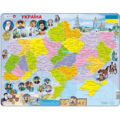 Larsen-K62 Frame Puzzle - Political Map of Ukraine