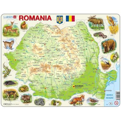 Larsen-K67-RO Frame Puzzle - Physical Map of Romania