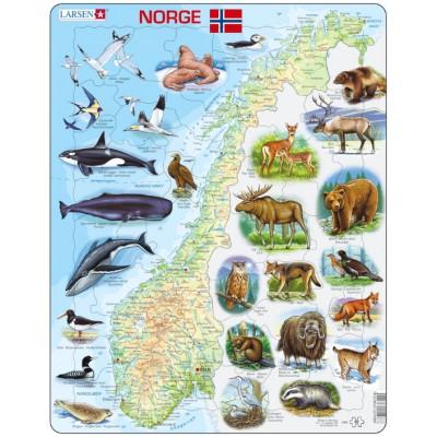 Larsen-K68-NO Frame Puzzle - Physical map of Norway