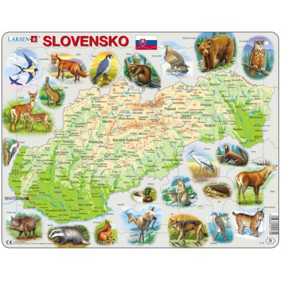 Larsen-K73-SK Frame Puzzle - Slovakia Physical Map with Animals