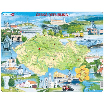 Larsen-K76 Frame Puzzle - Physical map of Czech Republic