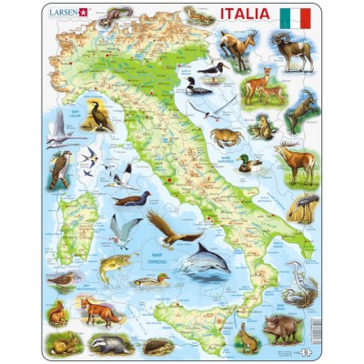 Larsen-K83-IT Frame Jigsaw Puzzle - Map of Italy (in Italian)