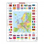 Larsen-KL1-EE Frame Jigsaw Puzzle - Map and Flags of Europe (Estonian)