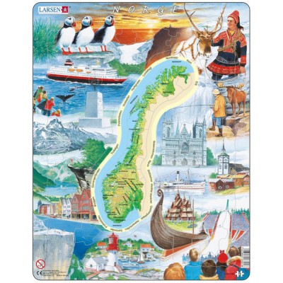 Larsen-KS1-NO Frame Puzzle - Physical map of Norway