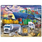 Larsen-US44 Frame Puzzle - Busy Cargo Hub With Ships, Trucks, Trains and Planes