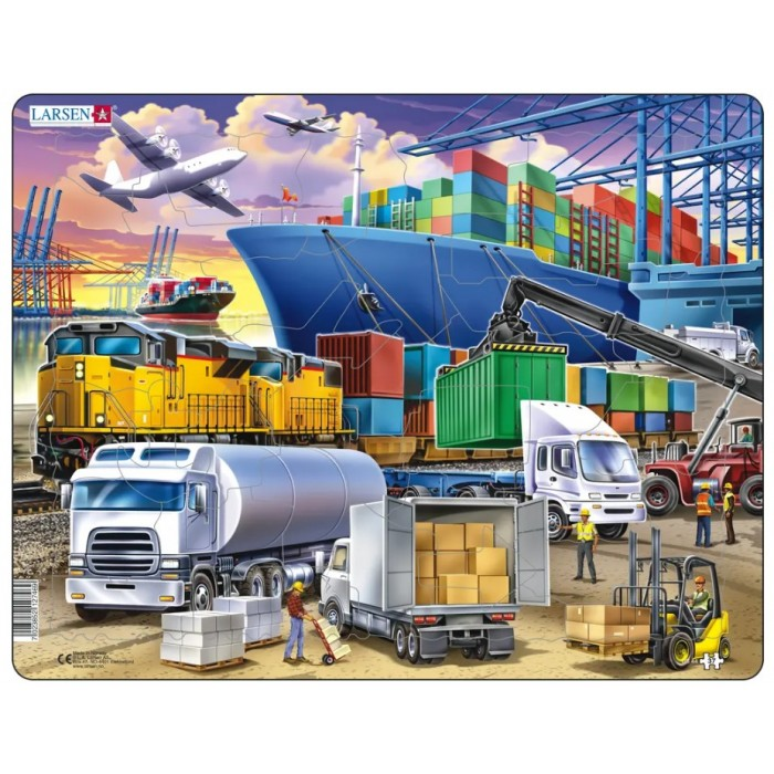 Frame Puzzle - Busy Cargo Hub With Ships, Trucks, Trains and Planes