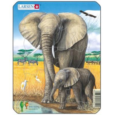 Larsen-V4-3 Frame Jigsaw Puzzle - Elephant