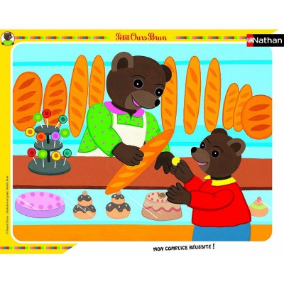 Nathan-86105 Frame Puzzle - Little Brown Bear in the bakery