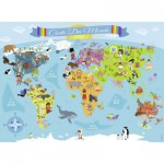 Puzzle  Nathan-86806 XX Pieces - World Map (in French)