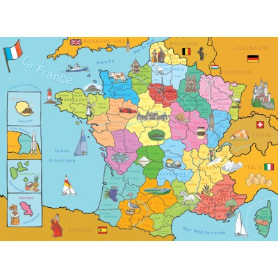 Nathan-86933 Jigsaw Puzzle - 250 Pieces - Map of France