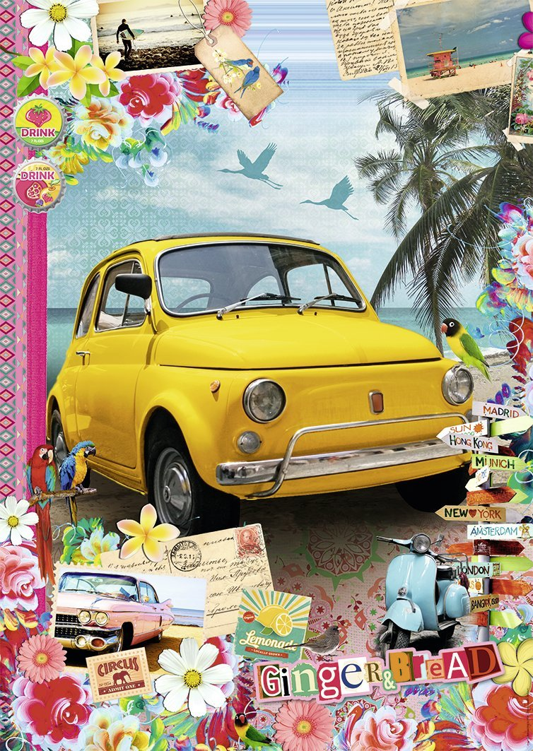puzzle sur la route des vacances nathan 87793 1500 pieces jigsaw puzzles retro and nostalgia. Black Bedroom Furniture Sets. Home Design Ideas