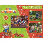 Noris-6060-31427 3 Jigsaw Puzzles - Leo the Mouse