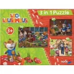 Noris-6060-31428 3 Jigsaw Puzzles - Leo the Mouse