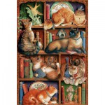 Puzzle  Cobble-Hill-50710 Feline Bookcase