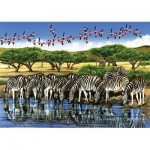 Puzzle  Cobble-Hill-52044 XXL Jigsaw Pieces - Zebras and Flamingoes