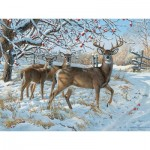 Puzzle  Cobble-Hill-52083 XXL Jigsaw Pieces - Persis Clayton Weirs - Winter Deer