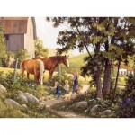 Puzzle  Cobble-Hill-52106 XXL Jigsaw Pieces - Douglas Laird - Summer Horses