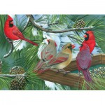 Puzzle  Cobble-Hill-54331 XXL Jigsaw Pieces - Cardinals at the Feeder