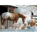 Puzzle  Cobble-Hill-54604 XXL Pieces - Familly - Winter Barnyard