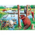 Cobble-Hill-58802 Frame Puzzle - Beaver Pond Tray Puzzle