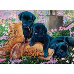 Puzzle  Cobble-Hill-58851 Black Lab Puppies