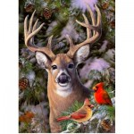 Puzzle  Cobble-Hill-85014 XXL Pieces - One Deer Two Cardinals