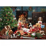 Puzzle  Cobble-Hill-85055 XXL Pieces - Christmas Puppies