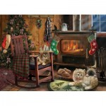 Puzzle  Cobble-Hill-85068 XXL Pieces - Kittens by the Stove