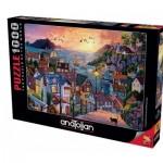 Puzzle   Coastal Town at Sunset