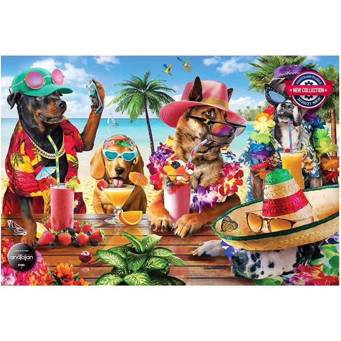 Dogs Drinking at the Beach Puzzle 1000 pieces