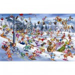 Piatnik-5351 Jigsaw Puzzle - 1000 Pieces - Ruyer : Christmas Skiing