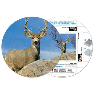 Pigment-and-Hue-RMULE-41306 Already assembled round Puzzle - Mule deer