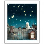 Pintoo-H1439 Plastic Puzzle - Kitten in the moonlight