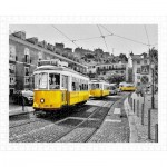 Pintoo-H1767 Plastic Puzzle - Yellow Trams in Lisbon