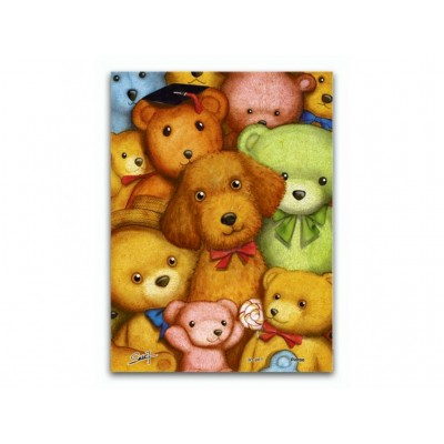 Pintoo-P1007 Plastic Puzzle - Poodles and Teddy Bears