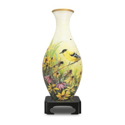 Pintoo-S1003 3D Vase Puzzle - Goldfinches