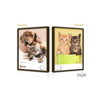 Pintoo-U1028 Double-sided Push Puzzle in plastic - cats and dog