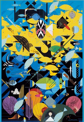 Puzzle Pomegranate-AA680 Charley Harper: The coral reef