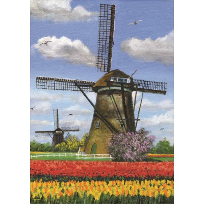 PuzzelMan-155 Jigsaw Puzzle - 1000 Pieces - Two Windmills, Netherlands