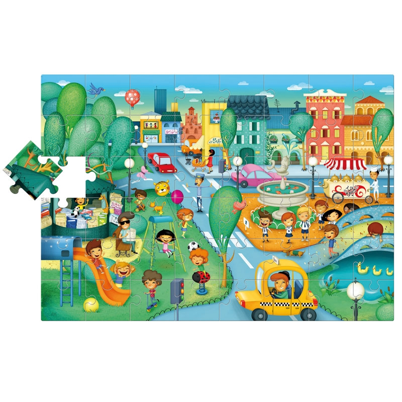 Floor puzzle city ludattica 49806 48 pieces jigsaw for 100 piece floor puzzles