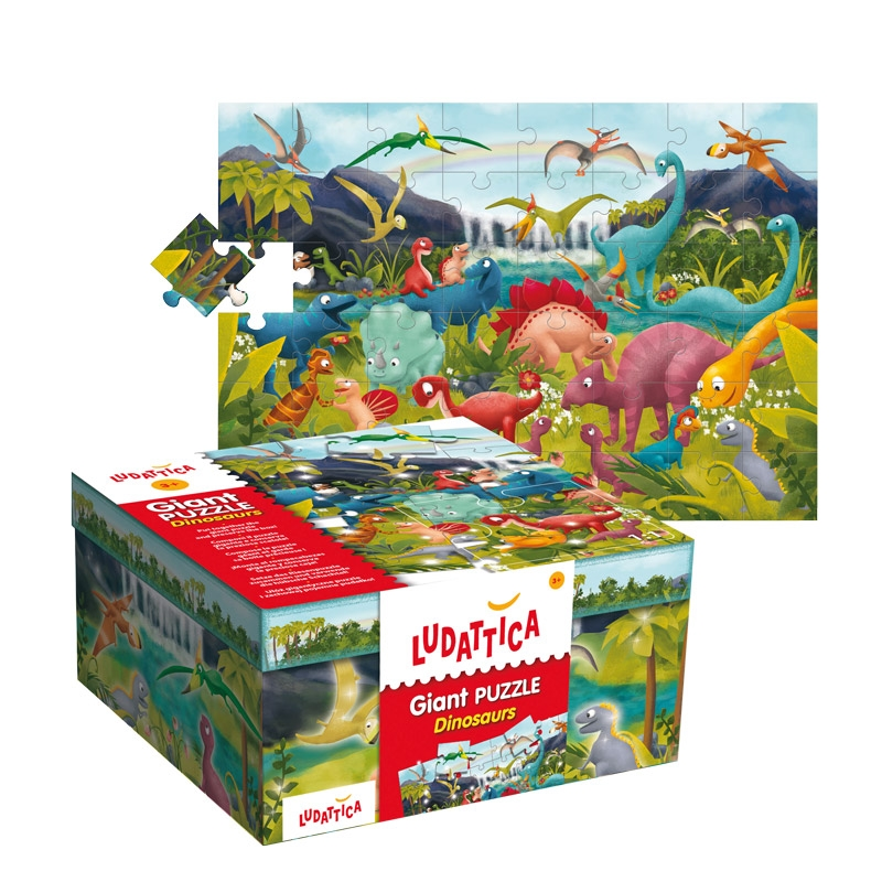 Floor puzzle dinosaurs ludattica 51373 48 pieces jigsaw for 100 piece floor puzzles