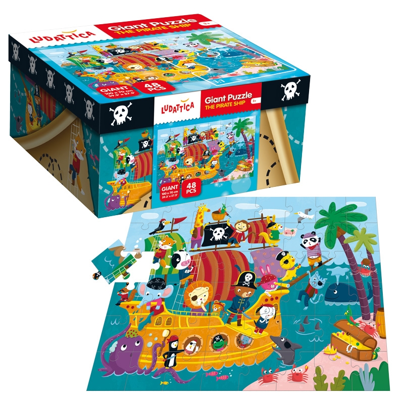 Floor puzzle pirates ludattica 47222 48 pieces jigsaw for 100 piece floor puzzles