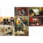 Puzzle-Michele-Wilson-A396-750 Wooden Puzzle - Ronner Knipp: 7 Cats