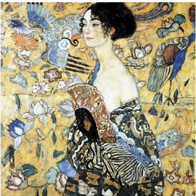 Puzzle-Michele-Wilson-A515-350 Jigsaw Puzzle - 350 Pieces - Art - Wooden - Klimt : Lady with Fan