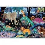 Puzzle-Michele-Wilson-K065-50 Hand-Cut Wooden Puzzle - Night in the Jungle