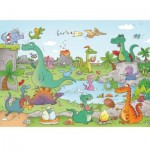 Puzzle-Michele-Wilson-K144-24 Hand-Cut Wooden Puzzle - Cacouault - Dinosaurs
