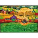 Puzzle-Michele-Wilson-K590-12 Hand-Cut Wooden Puzzle - Friedensreich Hundertwasser - Irinaland Over the Balkans