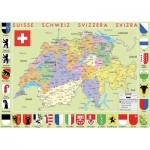 Puzzle-Michele-Wilson-K77-50 Hand-Cut Wooden Puzzle - Switzerland Map