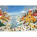 Puzzle-Michele-Wilson-K774-100 Hand-Cut Wooden Puzzle - Thomas - Winter Scene at Toucans